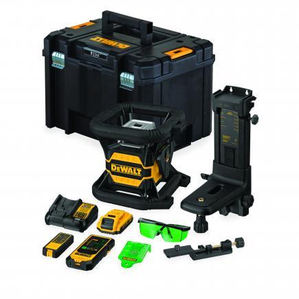 Zöld önszintező, forgólézer 12V, 1x2.0Ah,- bluetooth, koffer