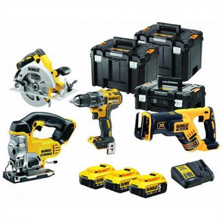 18V-os 4 gépes Combopack (DCD791+DCS331+DCS570+DCS367), 3x5.0 Ah, töltő, 2xTSTAK VI