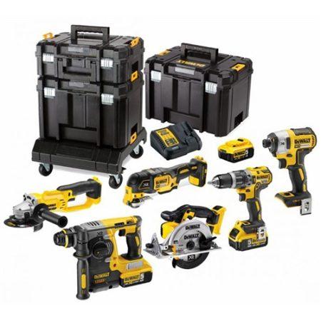 18V-os 6 gépes Combopack (DCD796+DCF887+DCS355+DCG412+DCS391+DCH273), 3x5.0 Ah, 2xTSTAK VI, 1xTSTAK II, kocsi