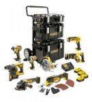 18V-os 8 gépes Combopack (DCD996+DCF887+DCS355+DCG405+DCS570+DCH273+DCS367+DCL050), 4x5.0 Ah, 3xTough Sys, kocsi